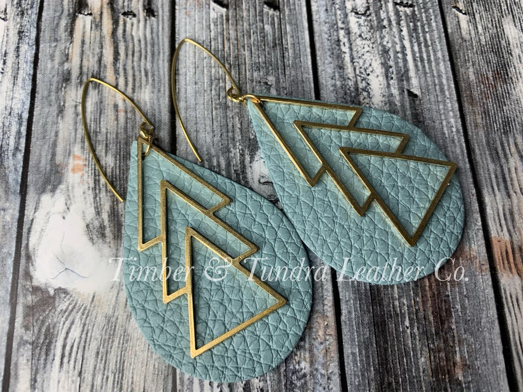 Darling Blue Leather Earrings with Brass Accents and Antique Brass Ear Wires