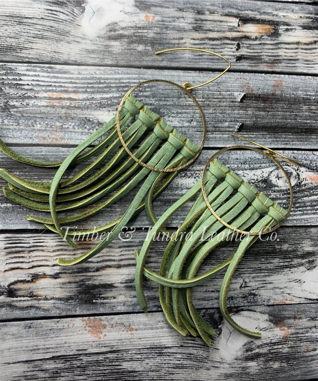 Leaf Green Leather and Brass Fringe Earrings -Short Length