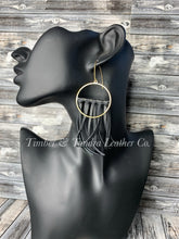Load image into Gallery viewer, Leather Fringe Earrings -Short length