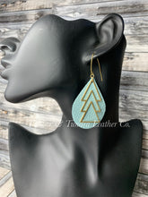 Load image into Gallery viewer, Darling Blue Leather Earrings with Brass Accents and Antique Brass Ear Wires