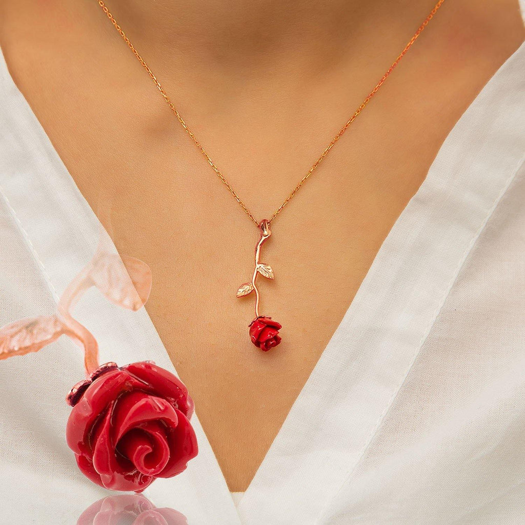 Red Rose Silver Necklace