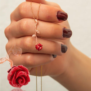 Silver Red Rose Necklace