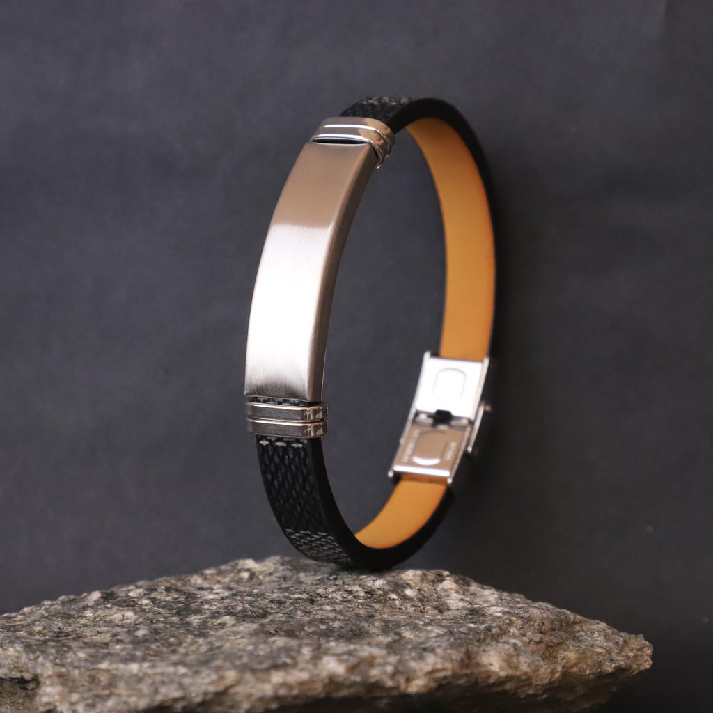 Black Leather Men Bracelet - Doha Store