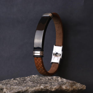brown & black Leather Men Bracelet - Doha Store