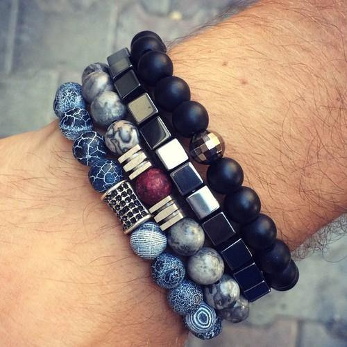 Hematite,  4-Piece Natural Stone Men's Bracelet Set