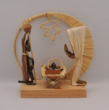 Load image into Gallery viewer, Nativity set fixed on a base of wood with box for storage