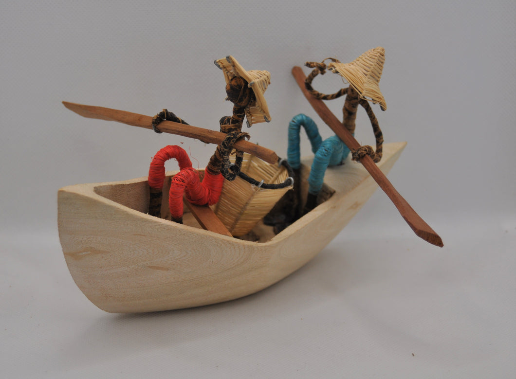 Wooden canoe with 2 fishermen