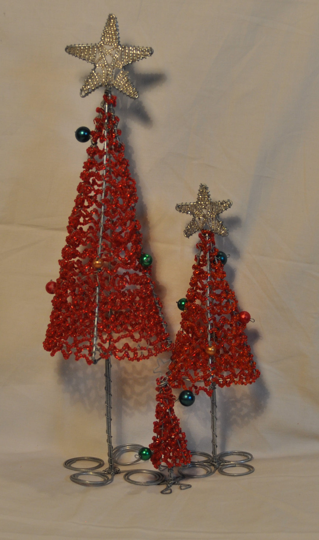 Christmas trees beaded set of 3