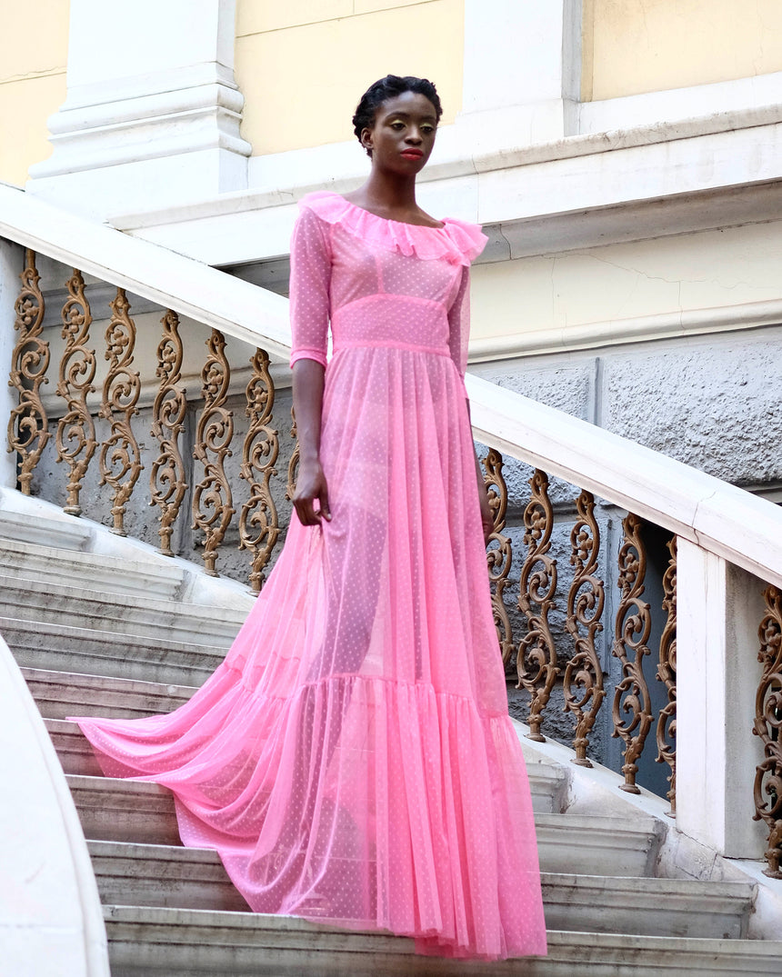 pink long dress couture