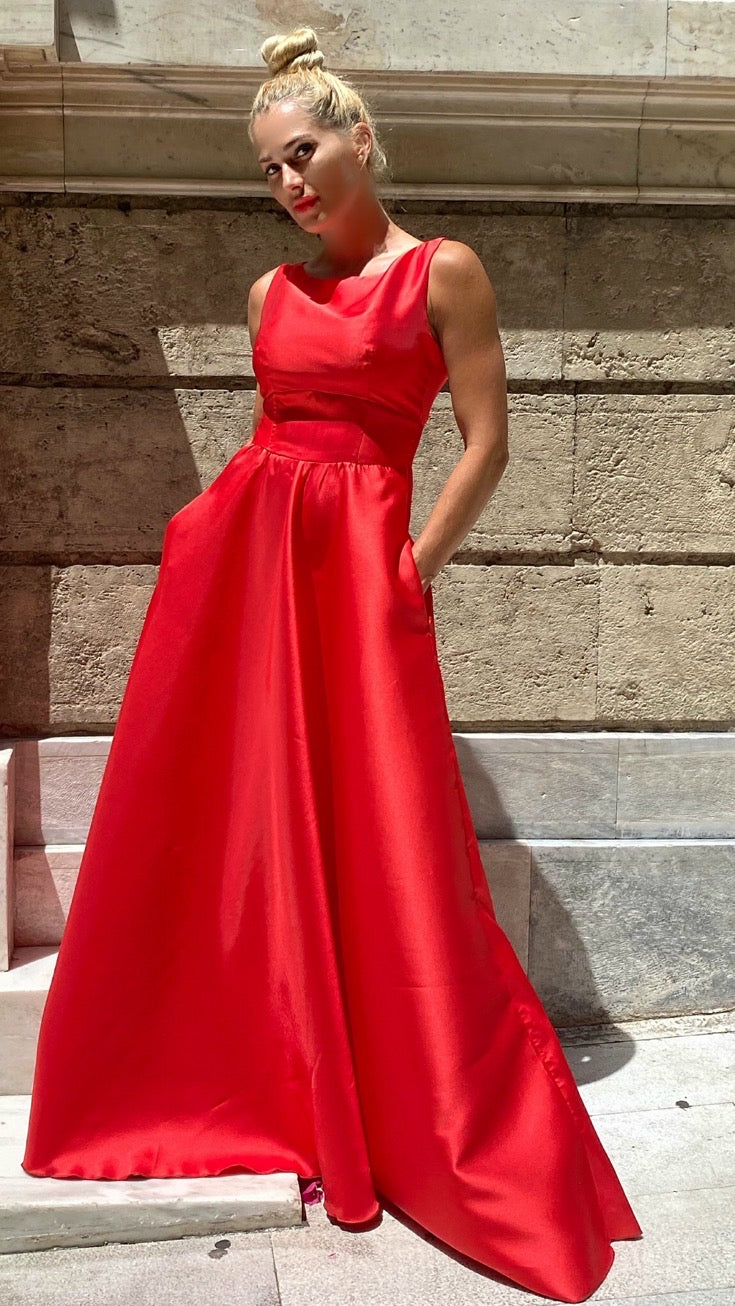 satin red long dress