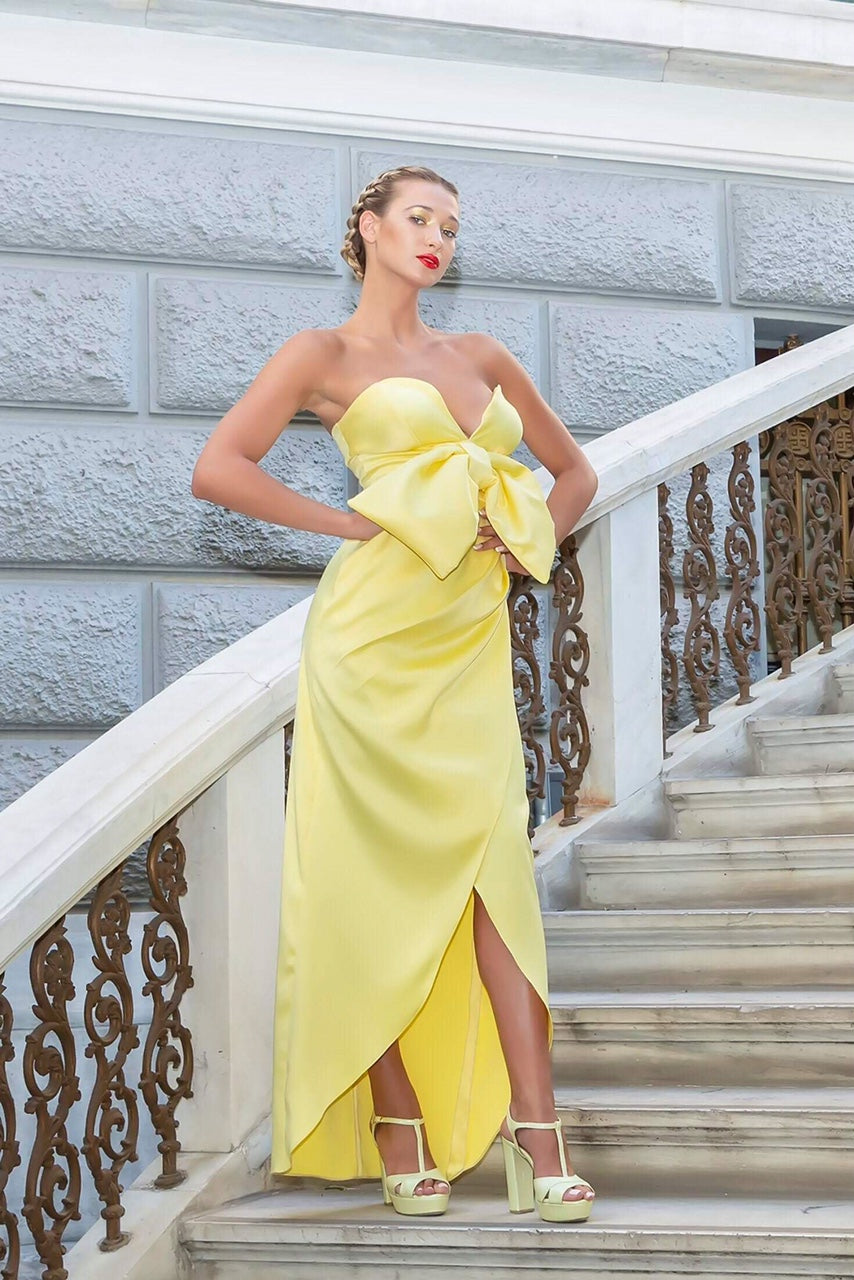 yellow long satin dress couture