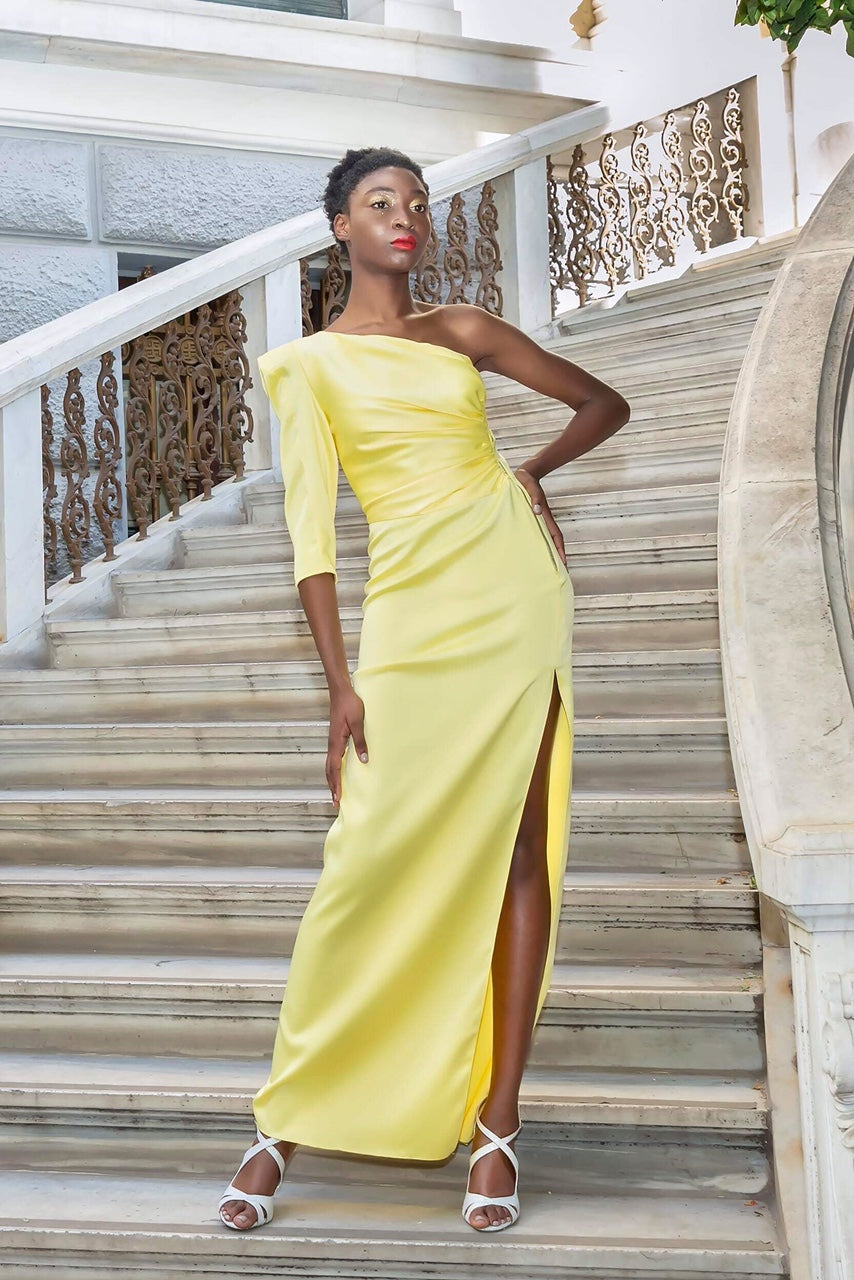 Yellow long dress couture