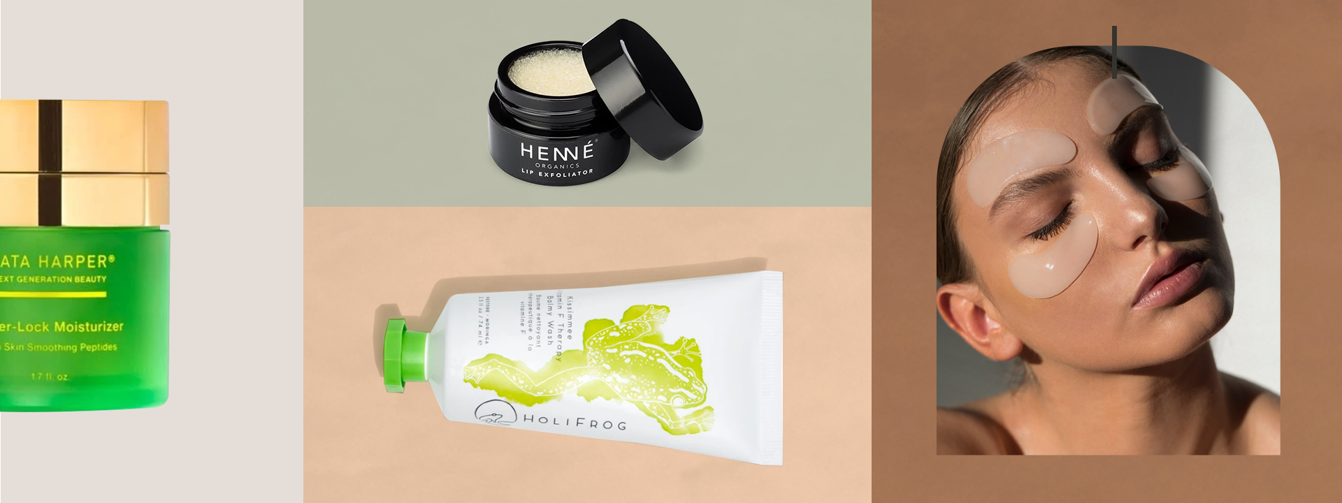 green skin care product, tube of product, small pot of product, and a woman wearing four patches