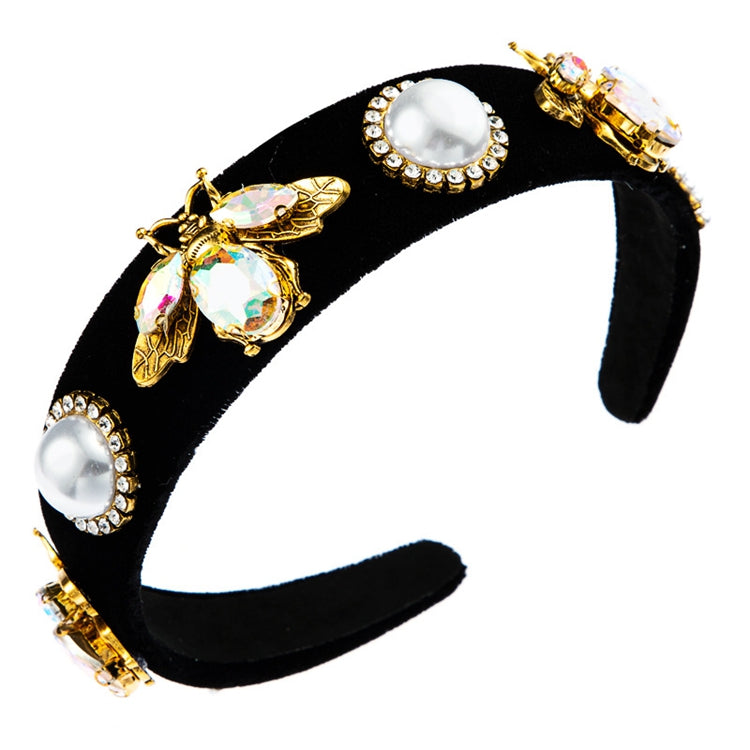 Elise Crystal Bee Headband - Black