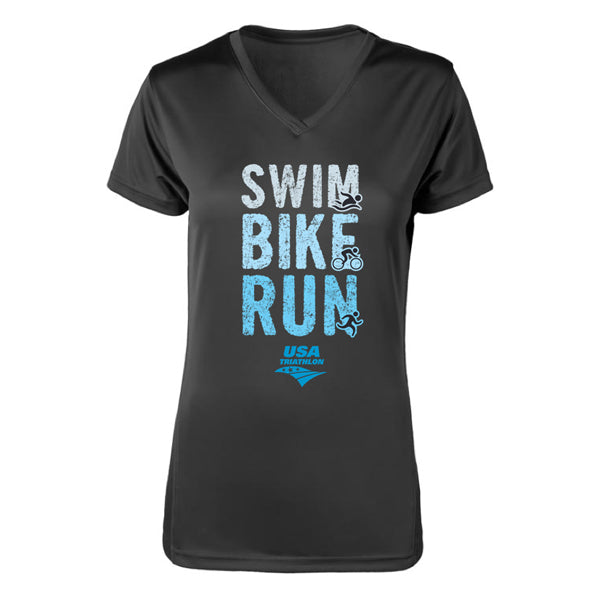 Women's Swim, Bike, Run Logo V-Neck Tech Tee