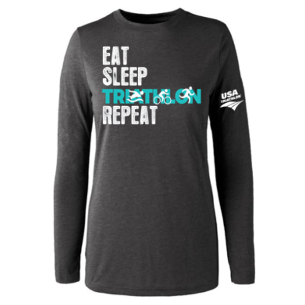 Women's Long Sleeve Triblend Tee - Eat Sleep Tri Repeat