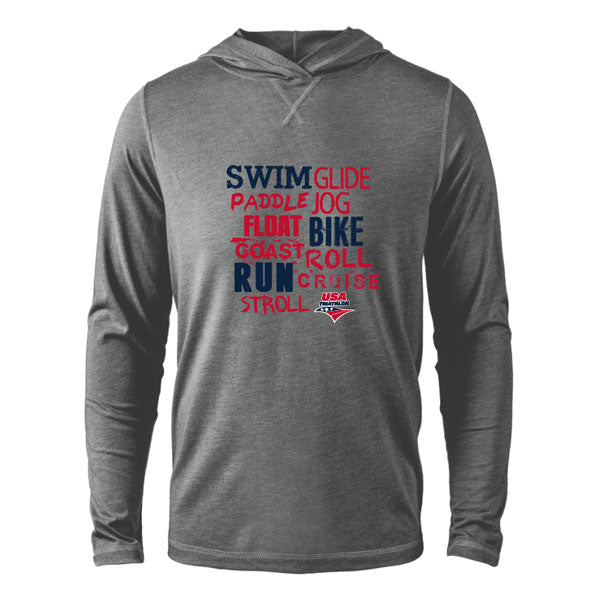 Unisex Swim Bike Run Words Triblend Hoodie