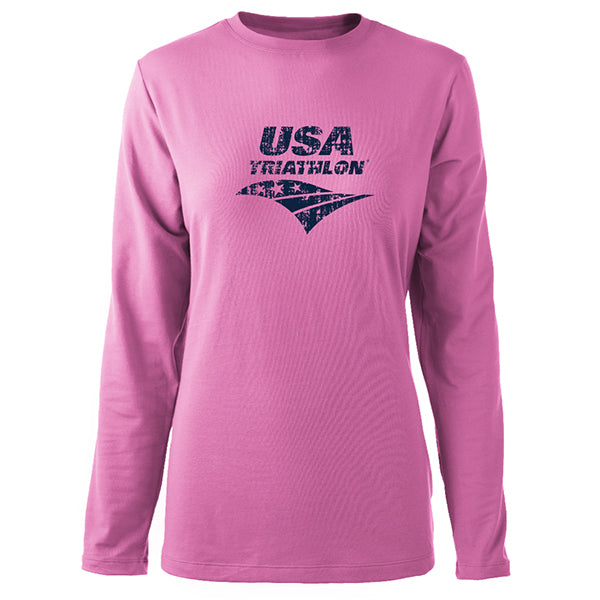 Women's Distressed Logo Long Sleeve Triblend
