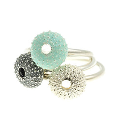 Enamelled Silver Urchin Ring (Blue)