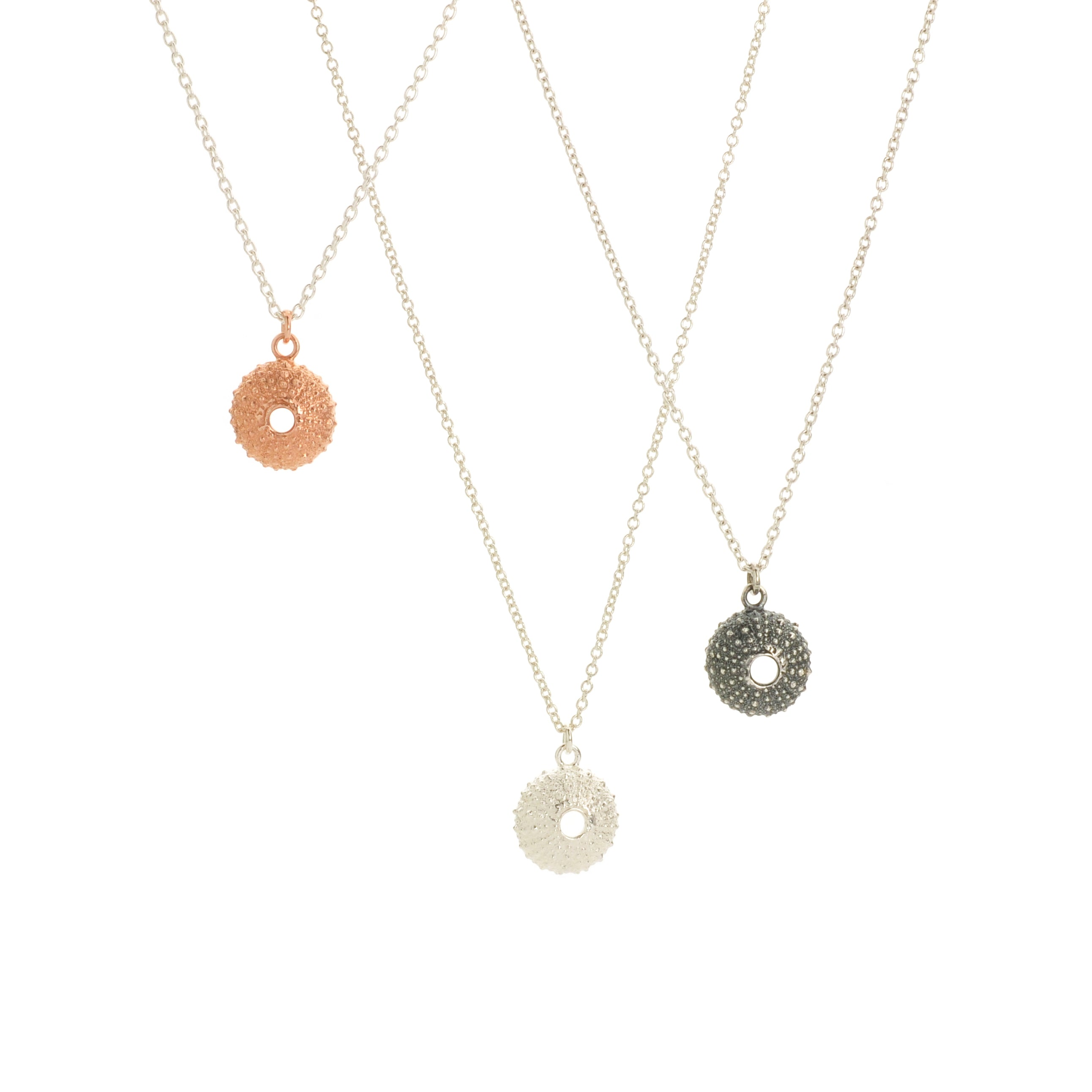Rose Gold Vermeil Urchin on silver chain