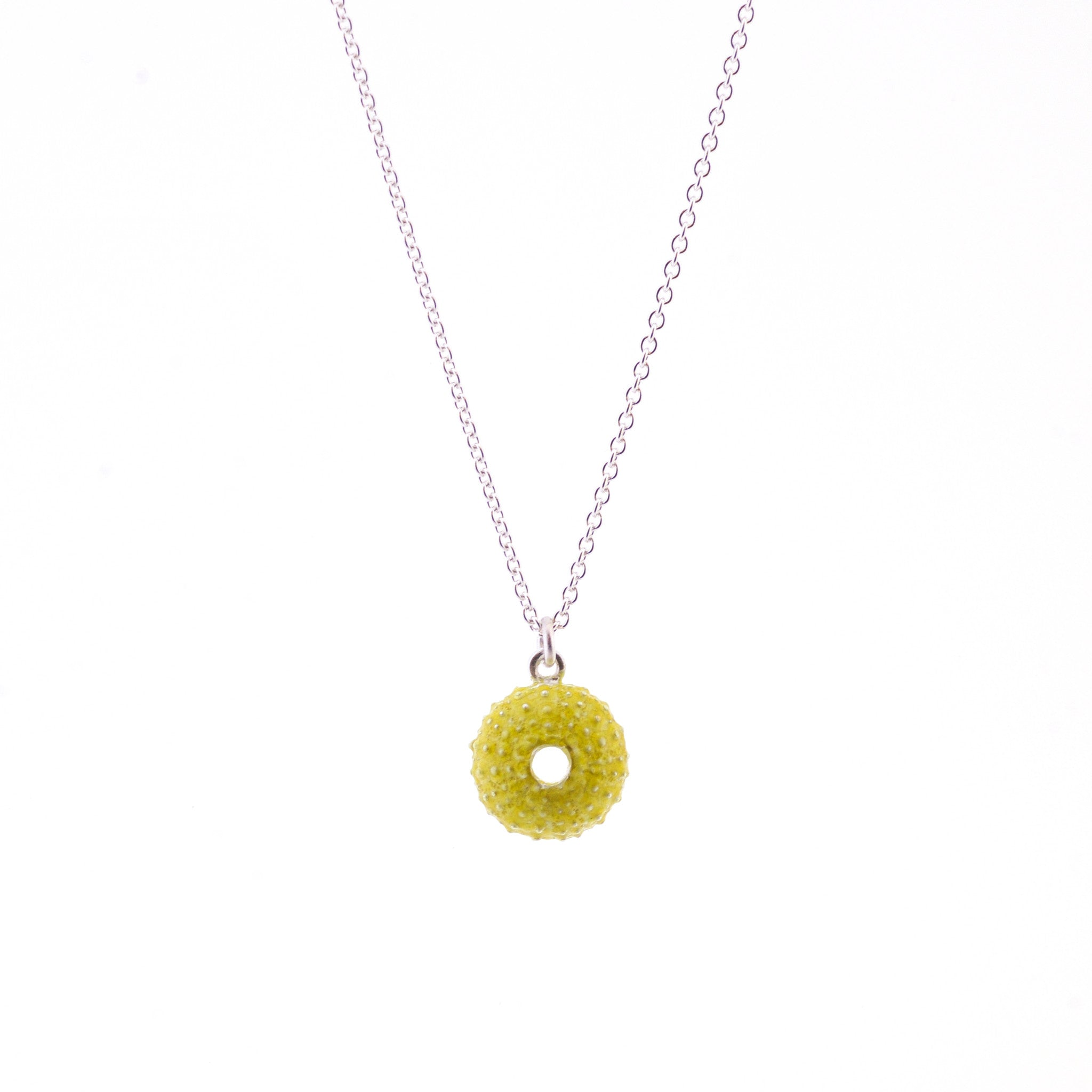 Enamelled Silver Urchin Necklace (Green)