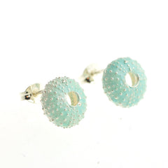 Enamelled Silver Urchin Stud Earrings (Blue)