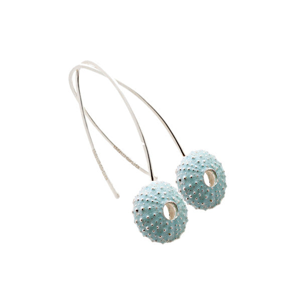 Enamelled Silver Urchin Hook Earrings (Blue)