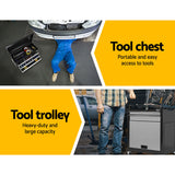 Giantz 7 Drawer Tool Box Cabinet Chest Storage Garage Toolbox Organiser Set  Black and Grey