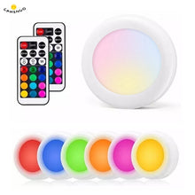Load image into Gallery viewer, Wireless RGB Dimmable led Night Lights Battery Remote Touch Sensor LED Puck Light Closet Cupboard Showcase Drawer Wardrobe Lamps