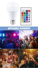 Carica l'immagine nel visualizzatore di Gallery, E27 Smart Control Lamp Led RGB Light Dimmable 5W 10W 15W RGBW Led Lamp Colorful Changing Bulb Led Lampada RGBW White Decor Home