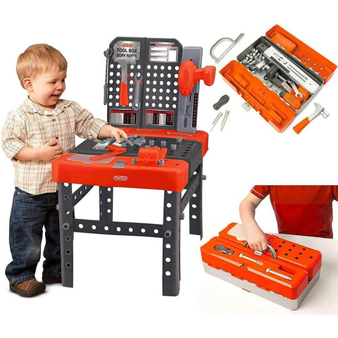 kids 2 in 1 portable tool bench carry case toy building construction workbench play set
