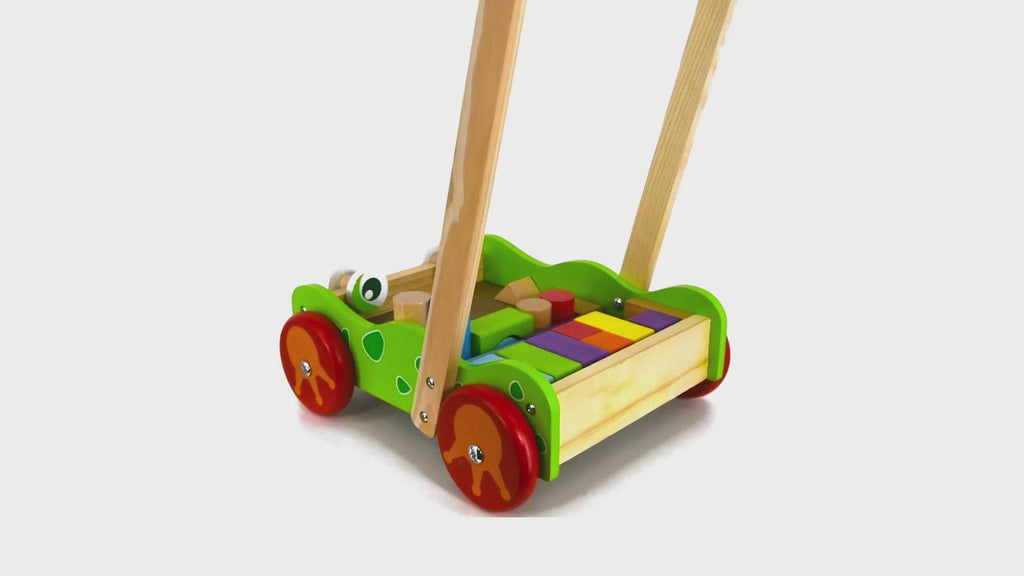 Baby Wooden Walker and Building Bricks Set - The Magic Toy Shop