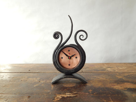 Forged iron tabletop clock from Blackthorne Forge in Vermont.