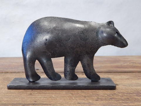 Forged iron decorative bear from Blackthorne Forge in Vermont.