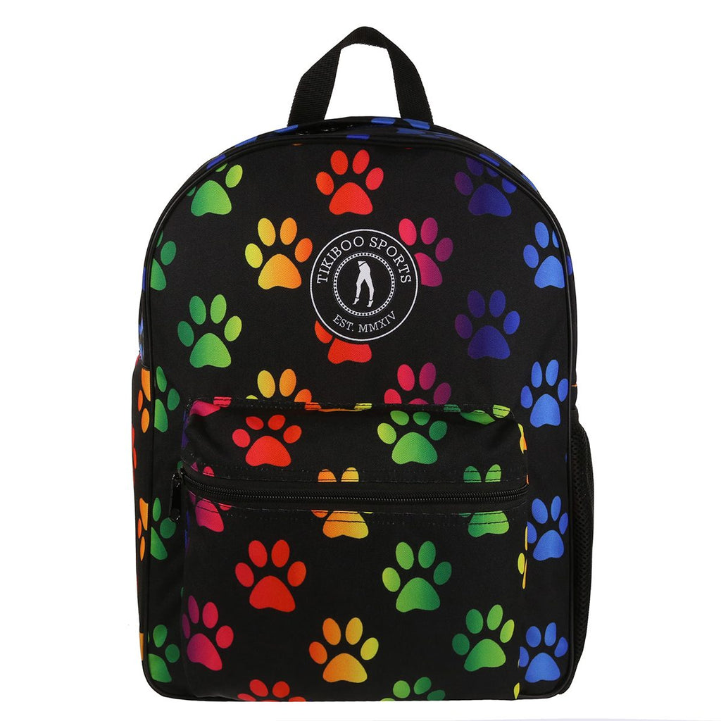 Tikiboo Rainbow Paw Print Backpack - Front Product View