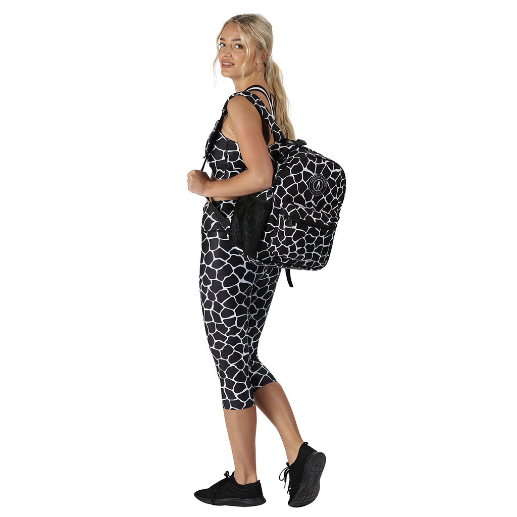 Tikiboo Monochrome Giraffe Backpack - Back Model View