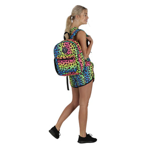 Tikiboo Neon Leopard Rucksack - Back Model View