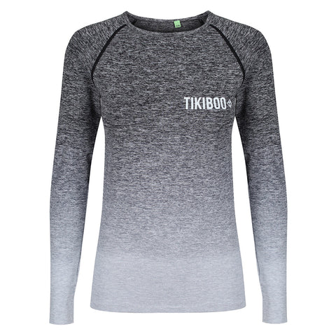 Tikiboo Grey Ombré Long Sleeved Base Layer - Front Product View