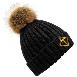 Tikiboo Black Bobble Hat - Front Product View