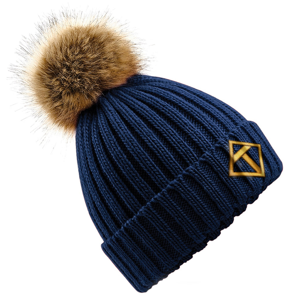 Tikiboo Navy Bobble Hat - Front Product View