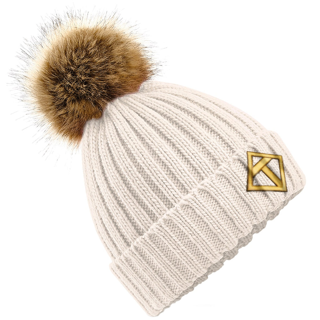 Tikiboo Oatmeal Bobble Hat - Front Product View