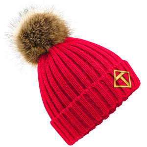 Tikiboo Red Bobble Hat - Front Product View