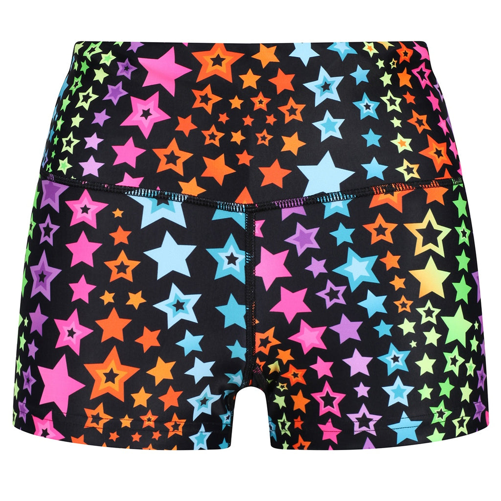 Tikiboo Neon Stars Booty Shorts - Front Product View