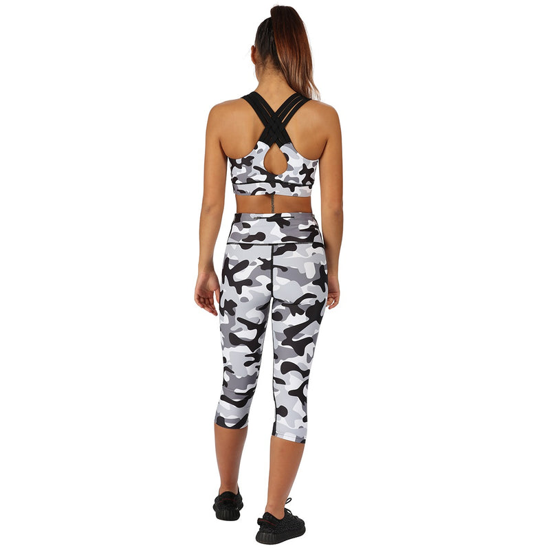 Tikiboo Monochrome Camo 3/4 Length Pants - Back Model View