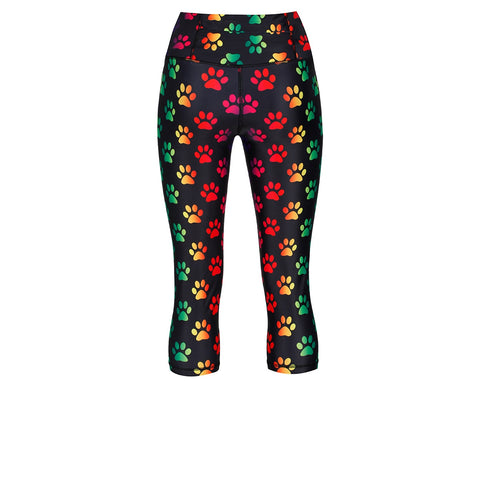 Tikiboo Rainbow Paw Print 3/4 length Capri Pants - Back Product View