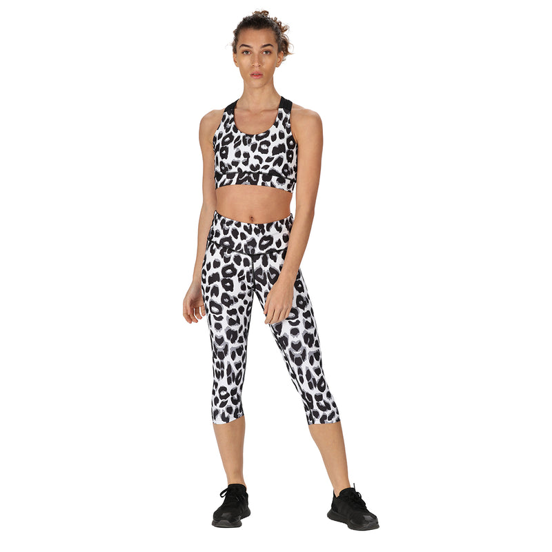 Tikiboo Snow Leopard 3/4 Length Printed Leggings - Front Model View