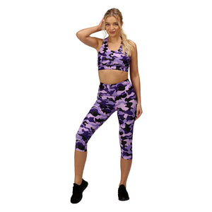 Tikiboo Blackberry Camo 3/4 Length Printed Leggings - Front Model View