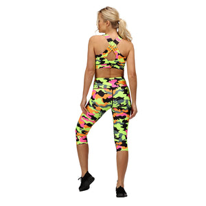 Tikiboo Fruit Salad Camo 3/4 Length Pants - Back Model View
