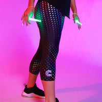 Tikiboo Clubbercise Rainbow Raver 3/4 Length Printed Leggings - Front Model Glow View