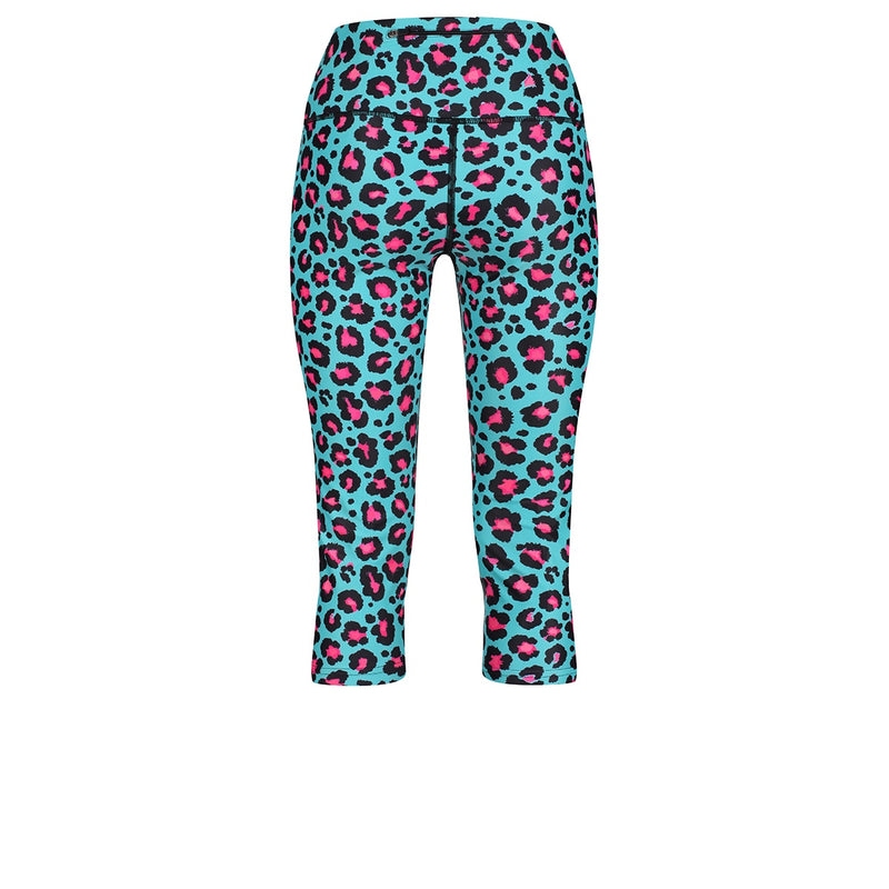 Tikiboo Minty Leopard Cropped Tights - Back Product View